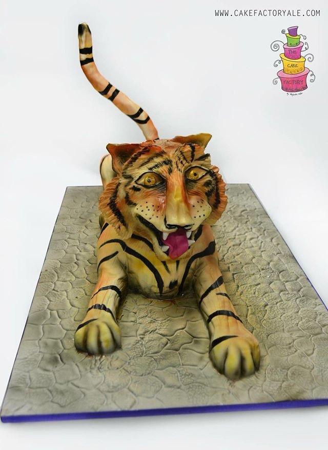 Sculpted fondant tiger cake