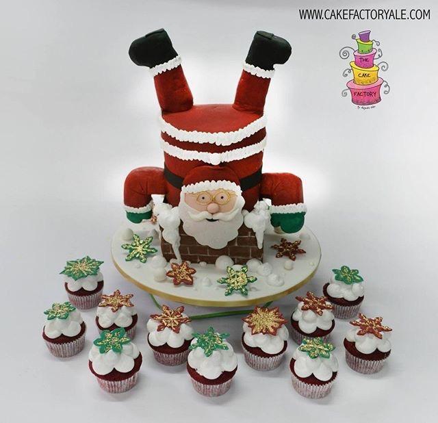Upside santa fondant cake