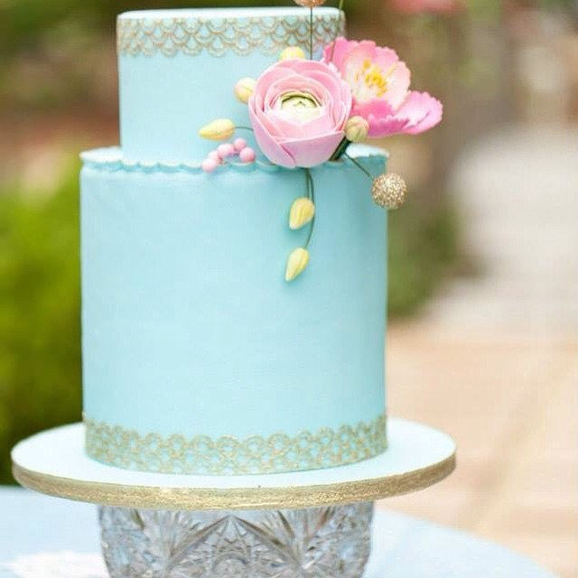 All turquoise fondant wedding cake