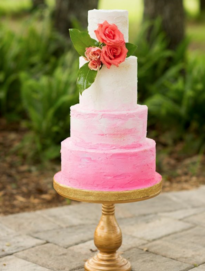 White and pink ombre fondant wedding cake
