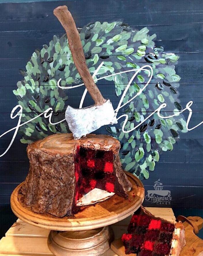 Lumberjack fondant birthday cake