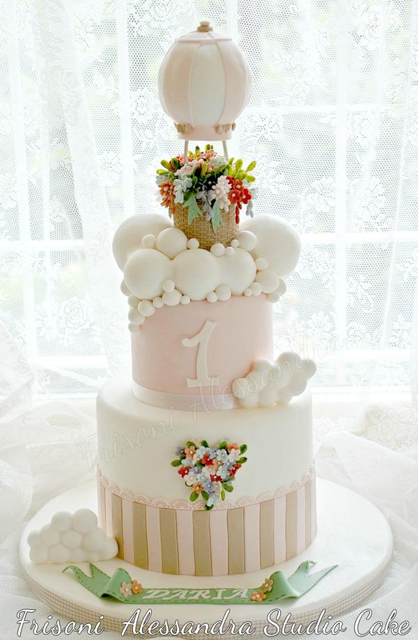 Pink Hot air Balloon 1st Birthday fondant cake