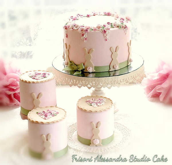 baby pink fondant Bunny themed petite fours