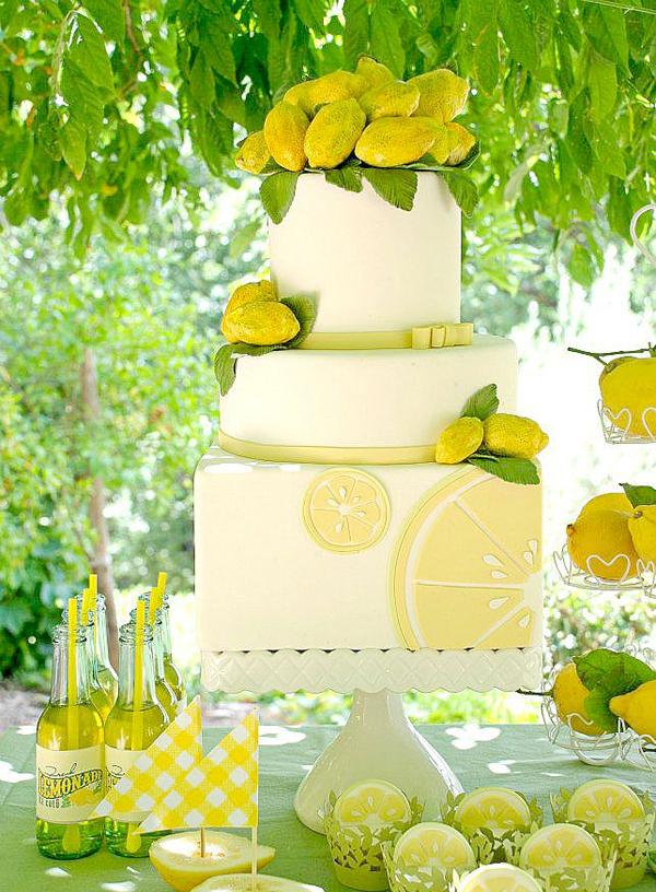 Lemon square designed fondant Cake