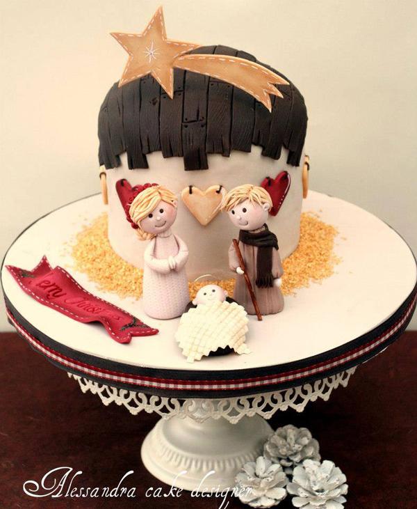 Christmas manger cake