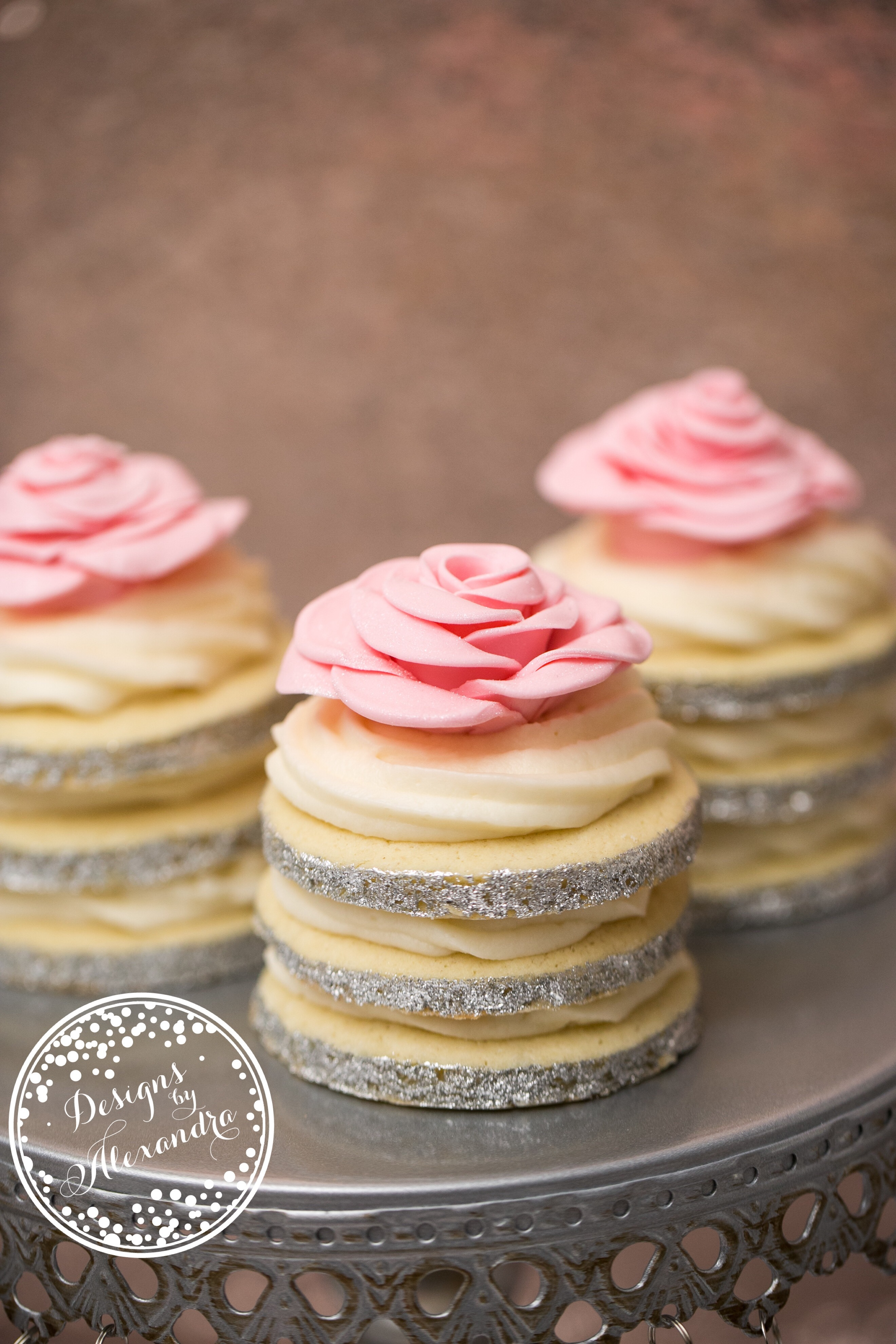 Pink and Silver petite fours with sugar flower
