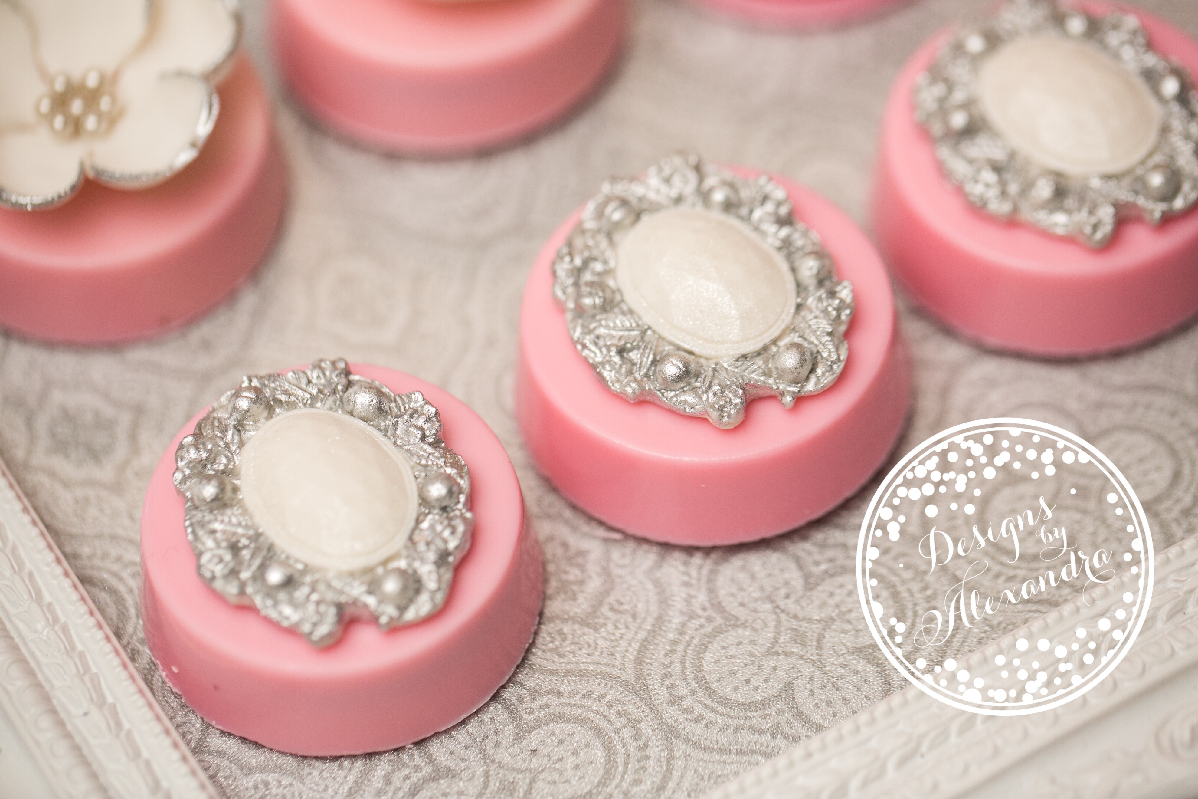 Pink and silver Victorian petite fours