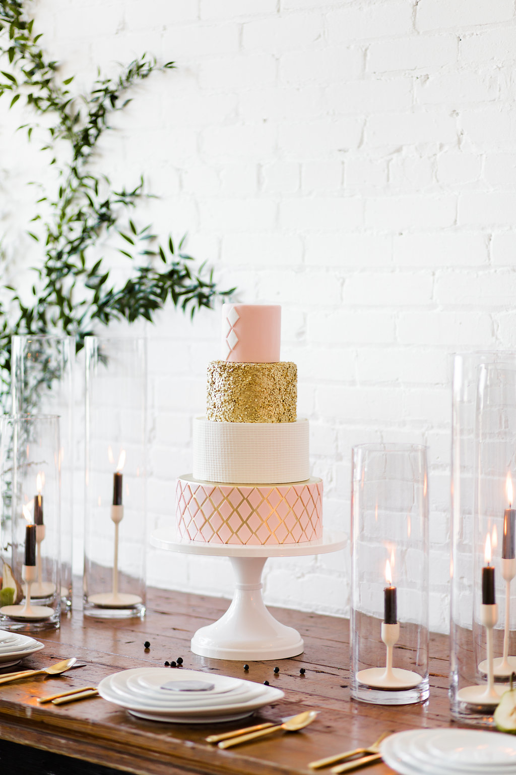 Rose gold fondant wedding cake