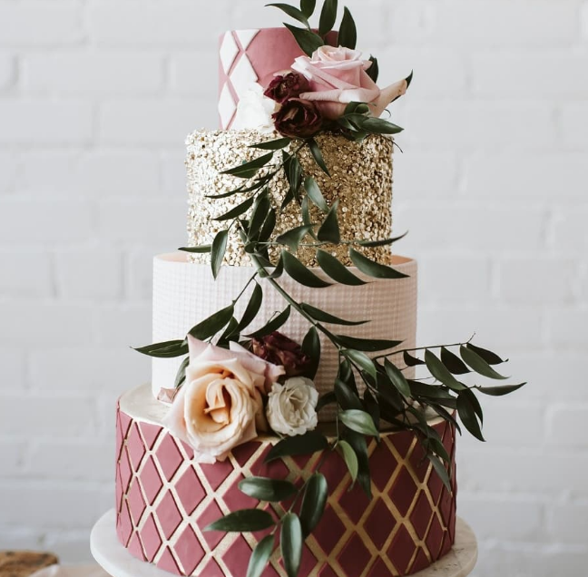 Burgundy and gold fondant wedding cake