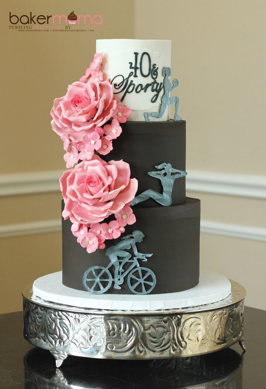 Black and white cycling fondant birthday cake