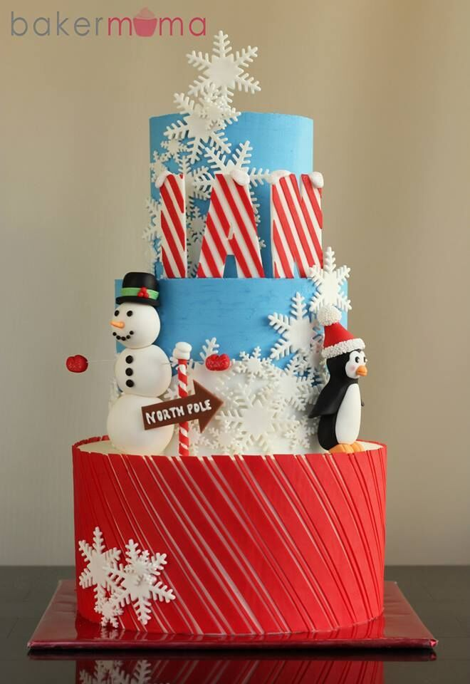 Winter snowman and penguin fondant birthday cake