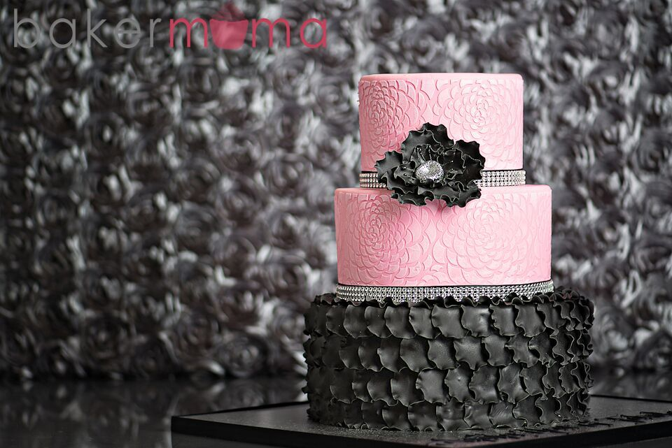 Pink and black ruffle birthday