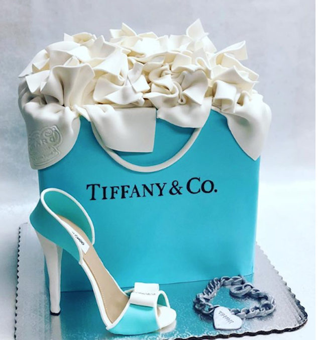 Tiffany and co fondant handbag cake