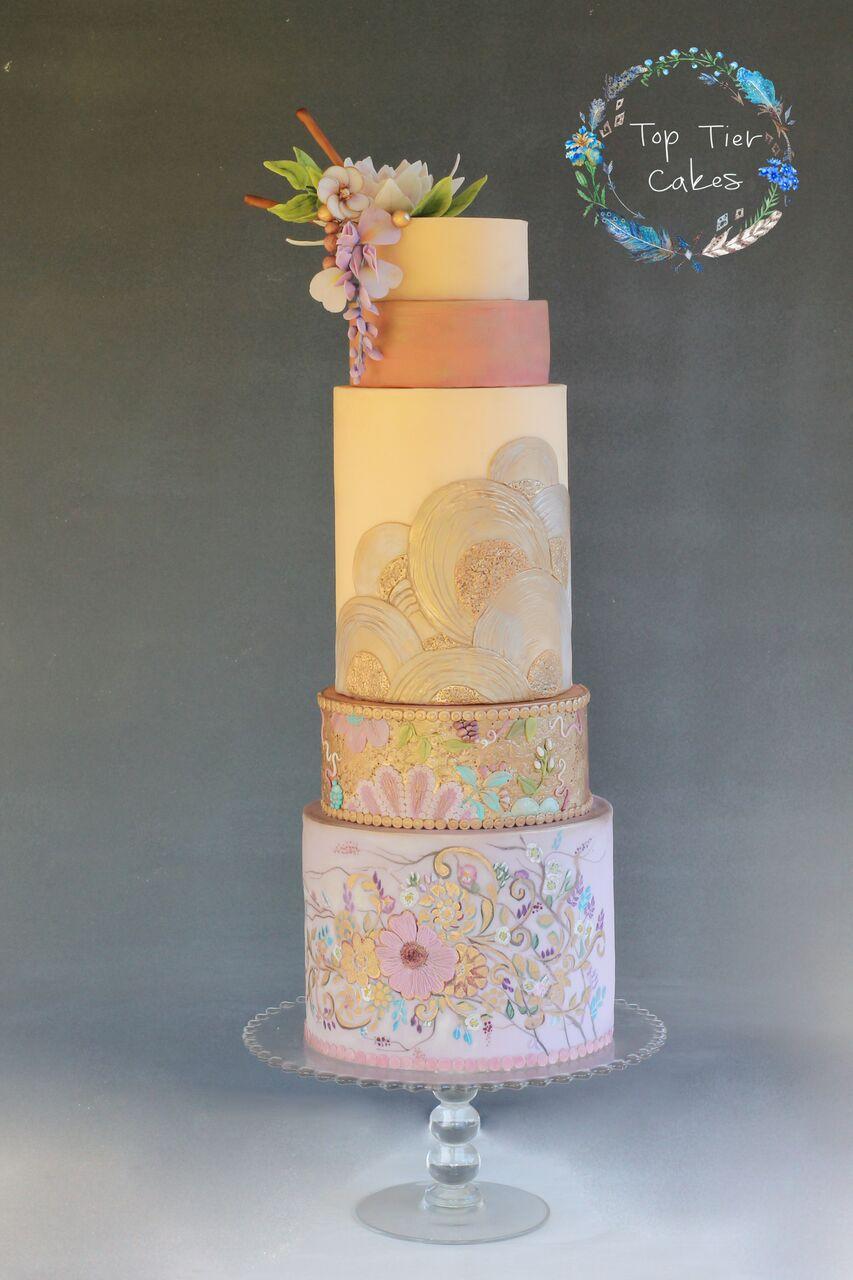 Kimono styled hand painted pastel wedding cake
