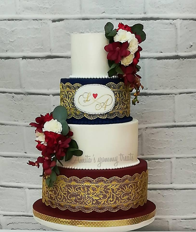 Burgundy and Navy fondant wedding cake