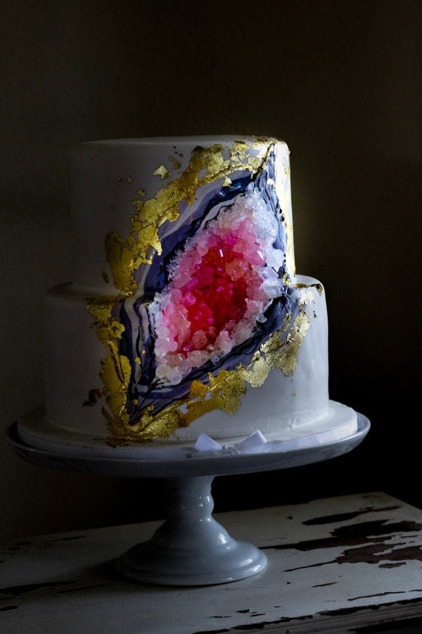 Gray Rock geode wedding cake