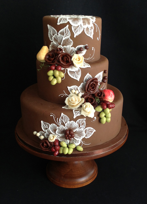 Brown fondant Wedding cake with handpainted florals