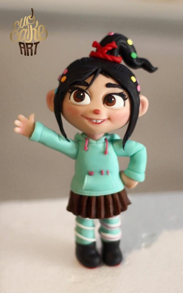 Little girl with pigtails fondant figurine