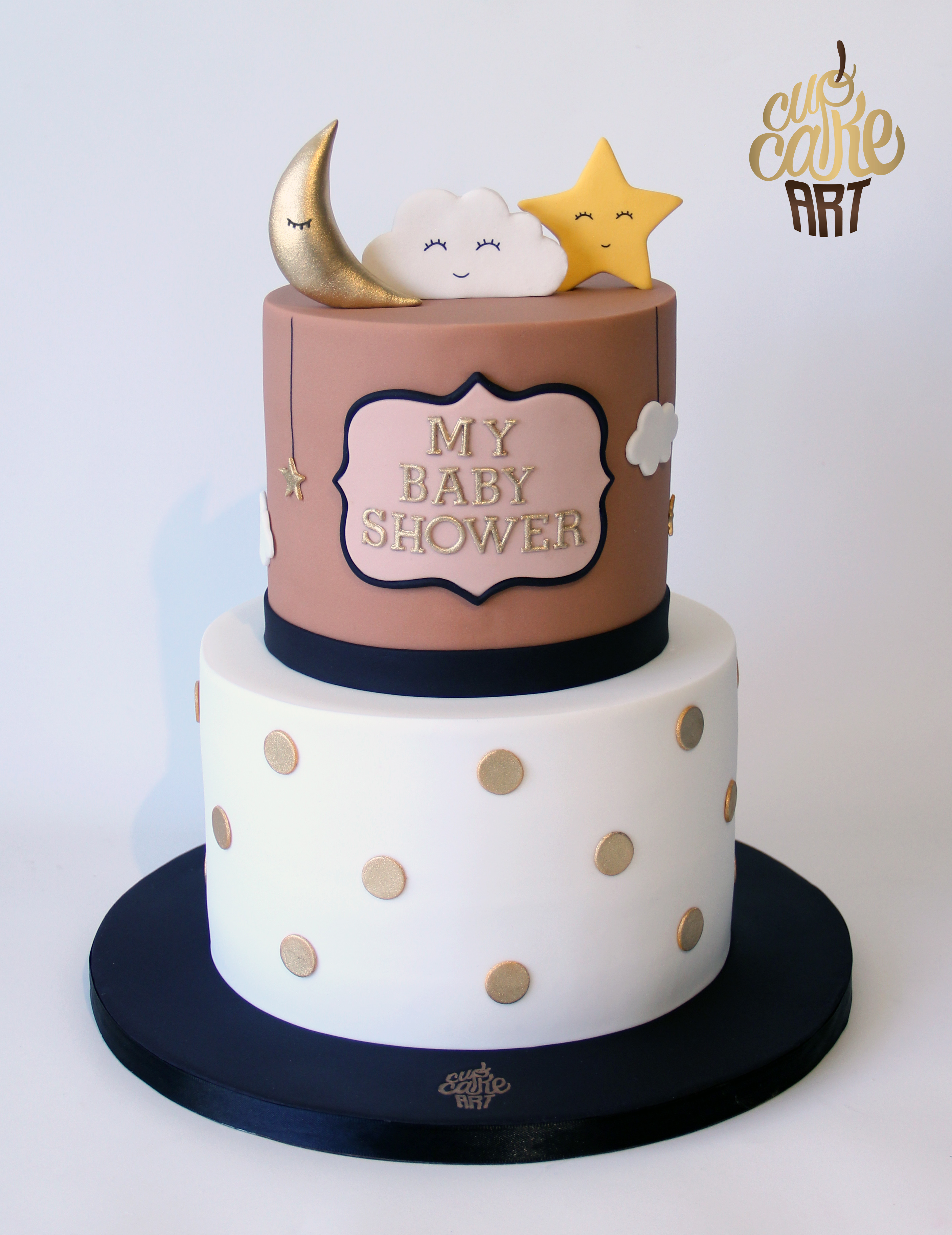 Sun Moon and Clouds neutral baby shower cake