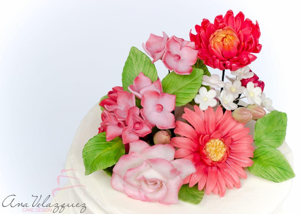 Bouquet of gum paste sugar flowers
