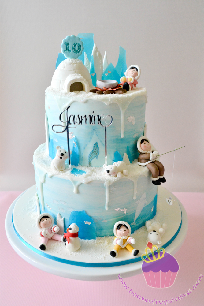 Polar Bears and snow themed birthday cake