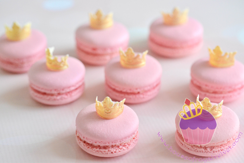 Pink macarons with gold fondant crowns