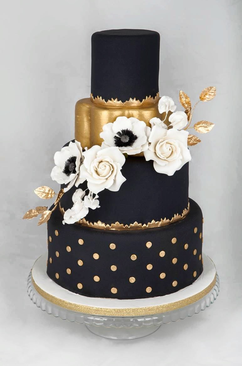 Black and Gold fondant Wedding cake with polka dots