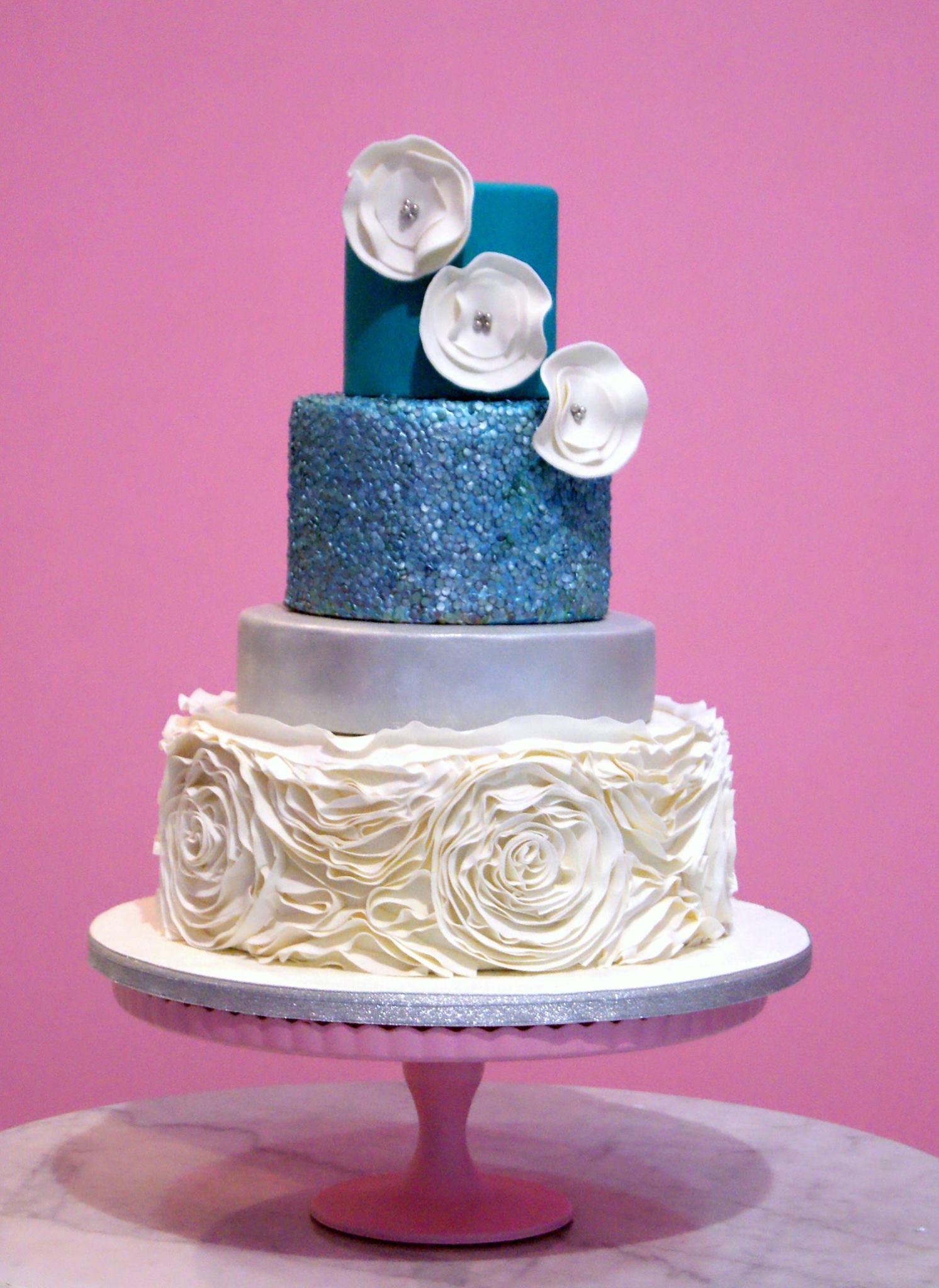 Blue Sparkle Wedding with White Rosettes