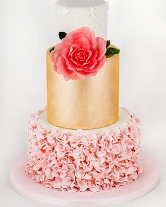 Gold and Pink Ruffle Wedding