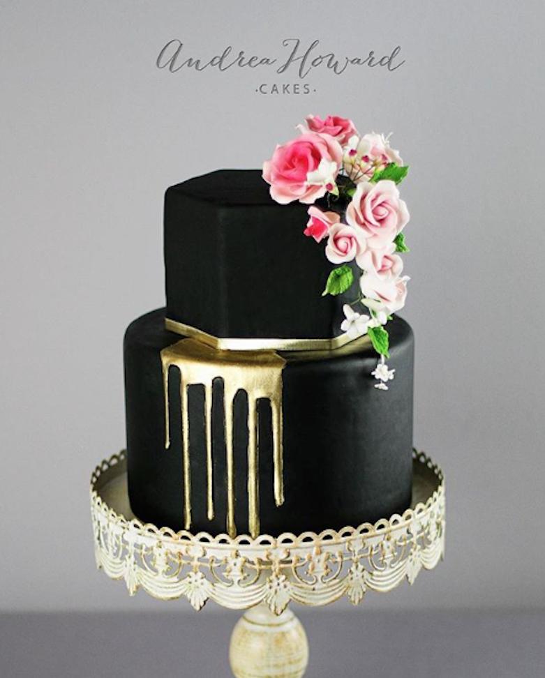 Black fondant wedding cake with gold drip