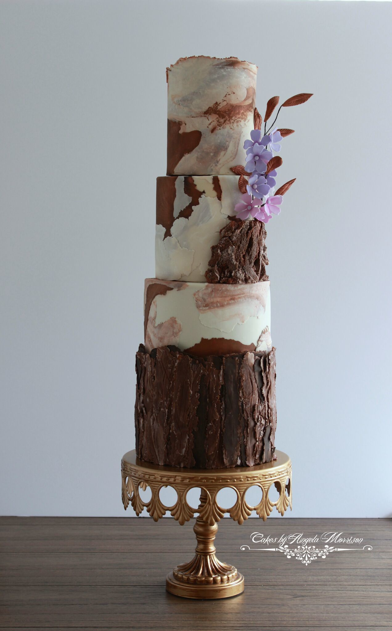 Tree Bark effect fondant Wedding cake