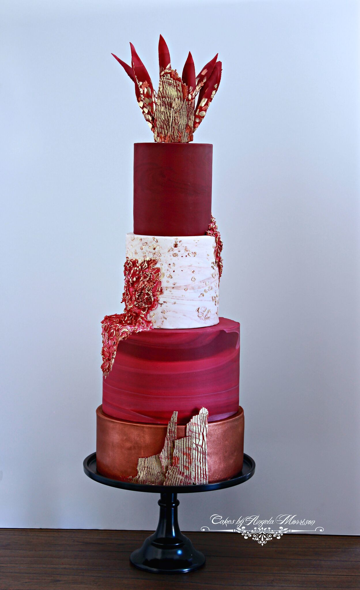 Red Bohemian fondant Wedding cake