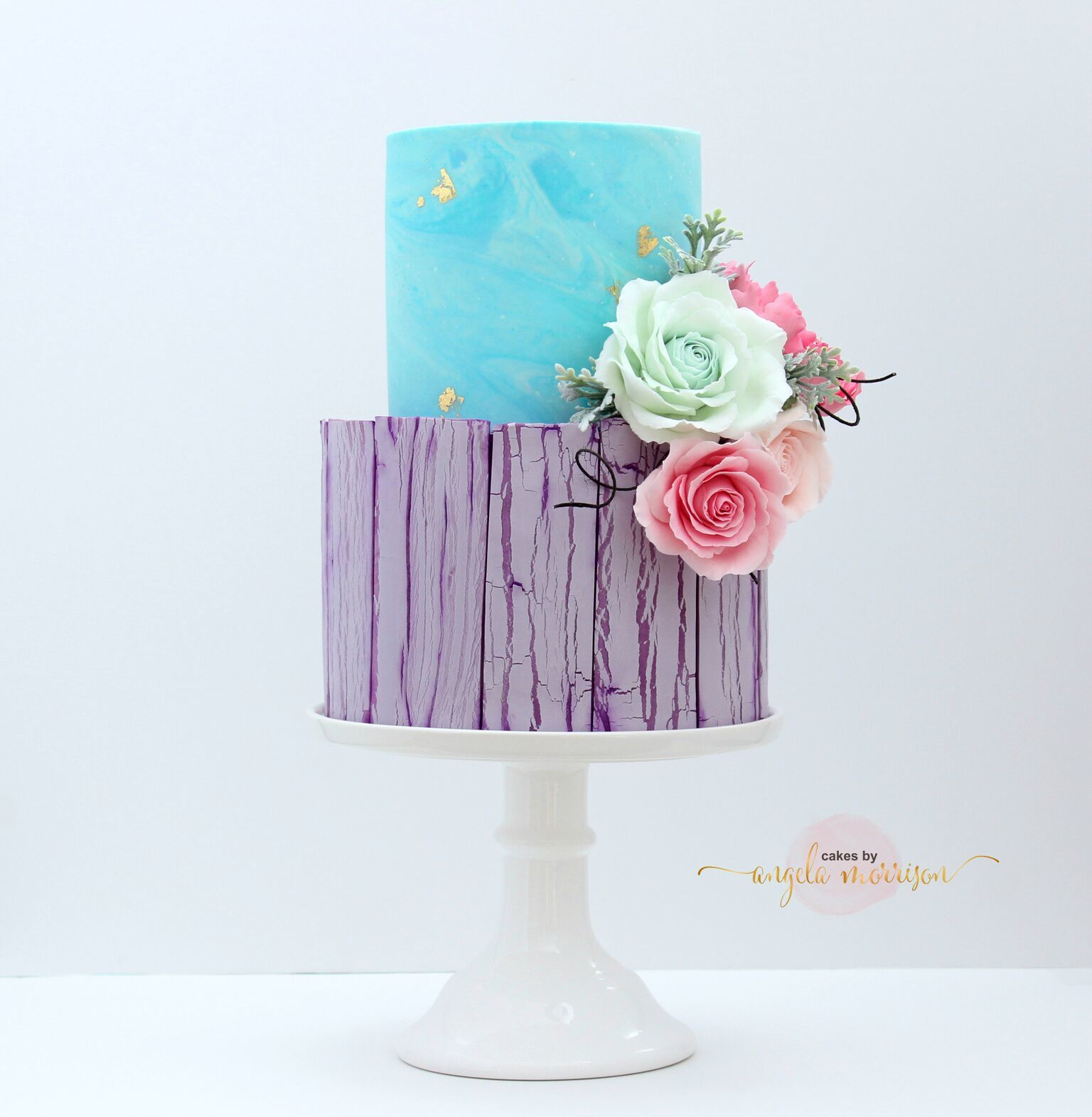 Lavender and blue fondant wedding cake