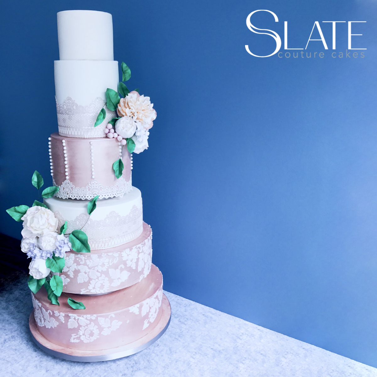 Rose gold and white victorian sugar lace fondant wedding cake