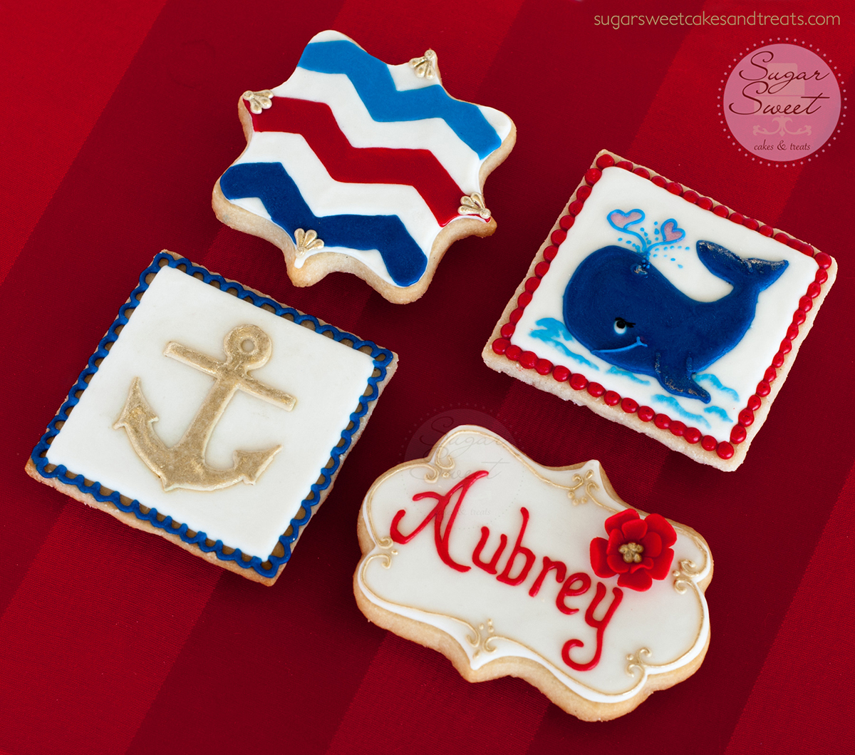 Red white and blue nautical cookies