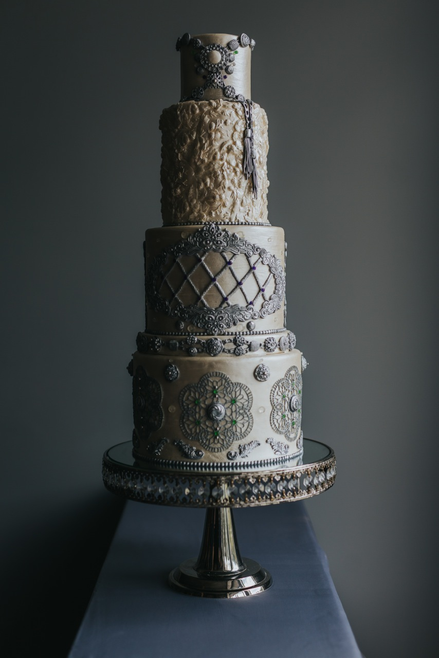 Victorian Taupe and Gray fondant Wedding cake