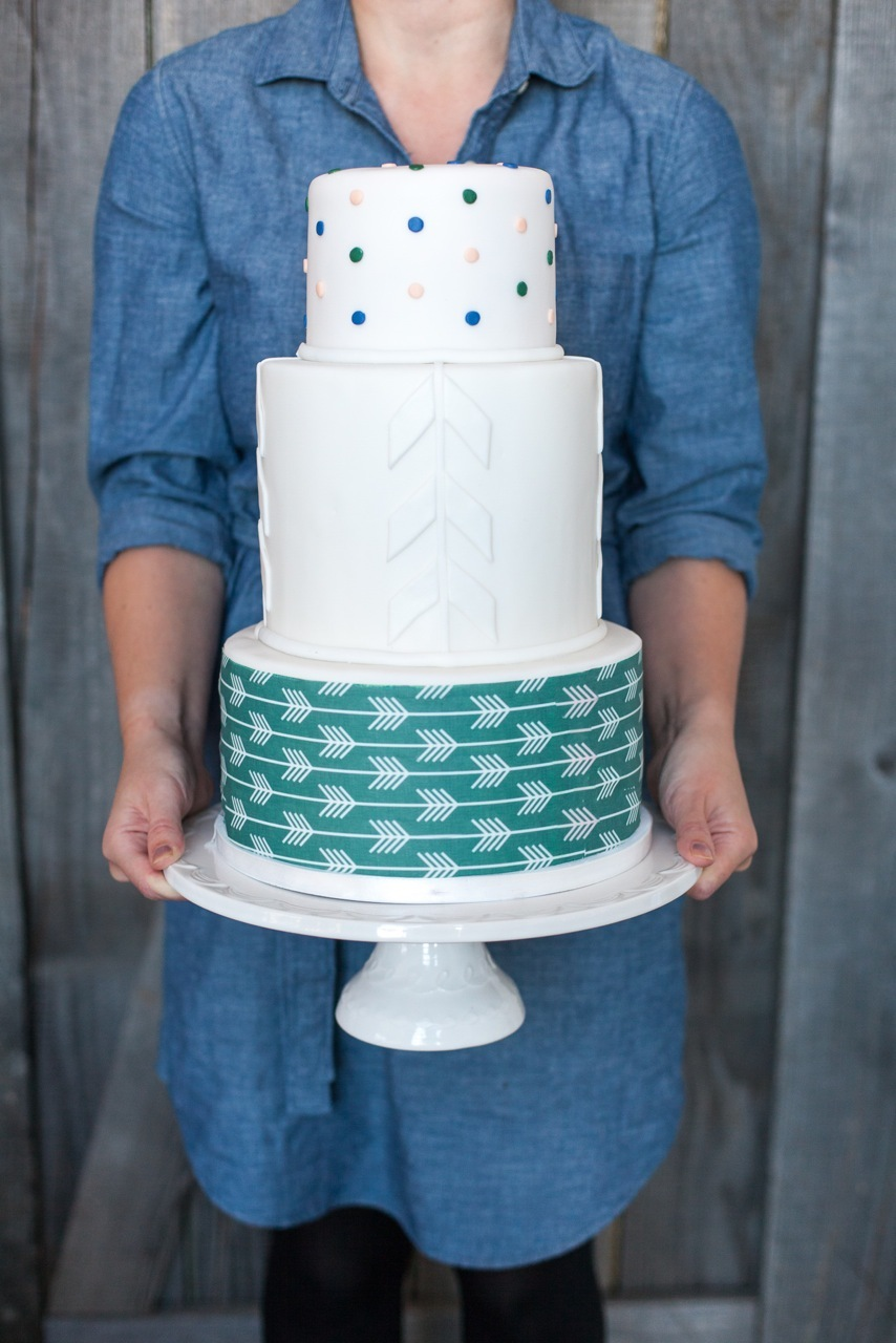 Teal and white tribal boho wedding cake