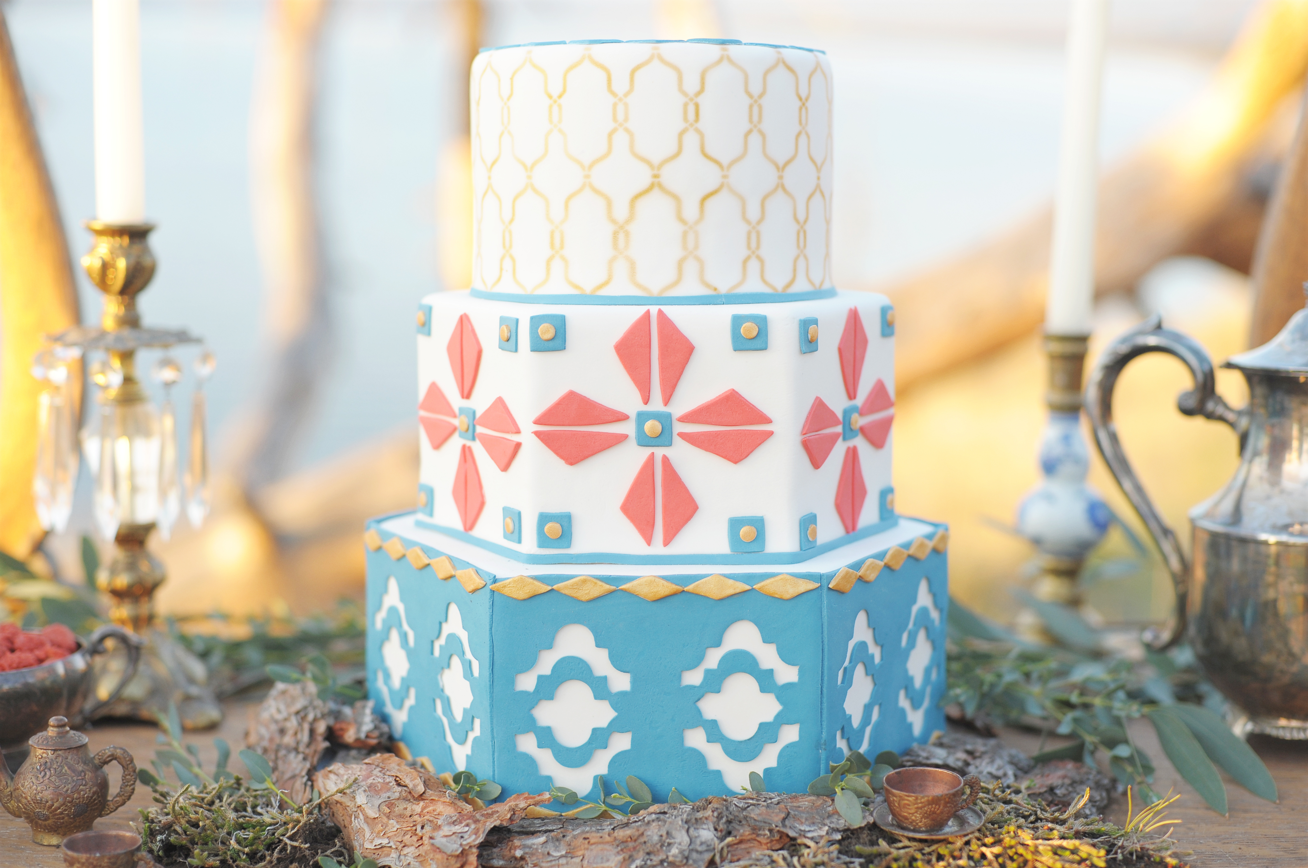 Tribal patterned boho wedding cake