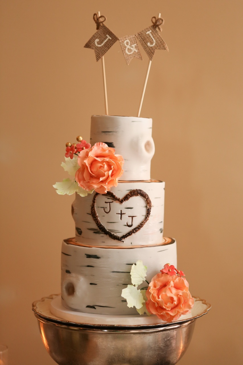 White bark fondant wedding cake