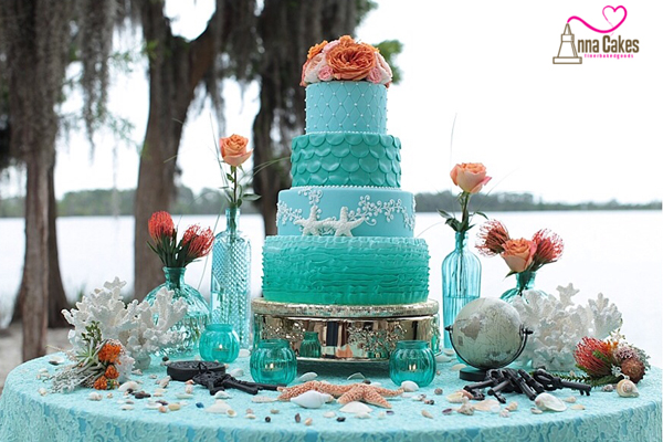 All Turquoise and coral fondant wedding cake