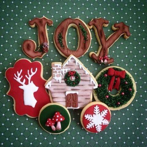 Christmas themed fondant cookies