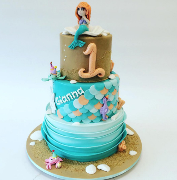 Mermaid 1st Birthday fondant cake