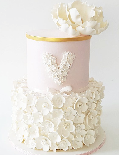 White and pink fondant rosette birthday cake