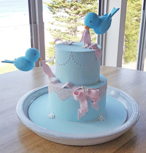 Light blue and pink baby bird cake