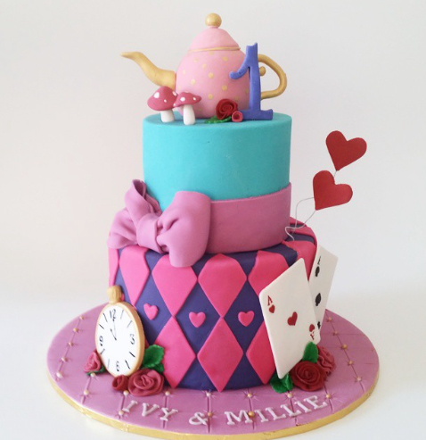 Alice in wonderland themed 1st birthday girl cake