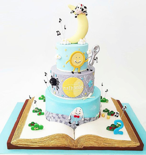 Nursery rhyme themed birthday cake