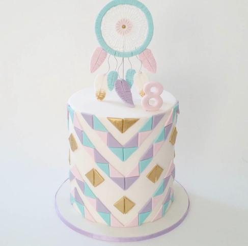 Pastel colored geometric boho themed birthday cake
