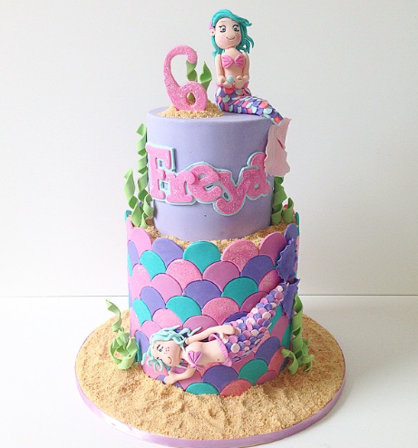 Purple and pink mermaid birthday cake