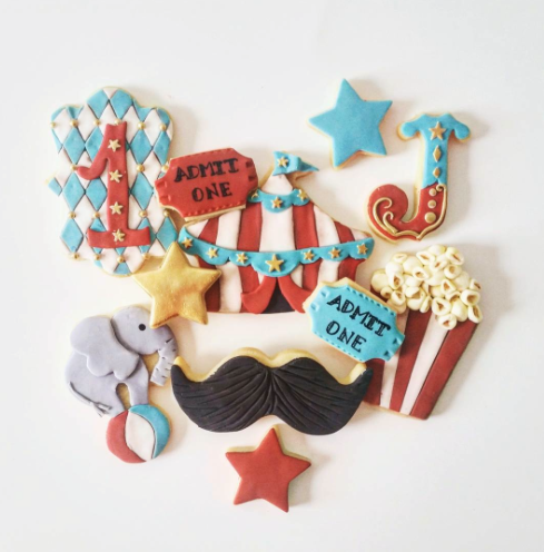 Circus themed fondant cookies