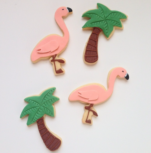 Flamingo and palm tree fondant cookies